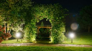 Lighting of a romantic place in the garden